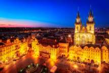 Town Square In Prague Czech Republic Night