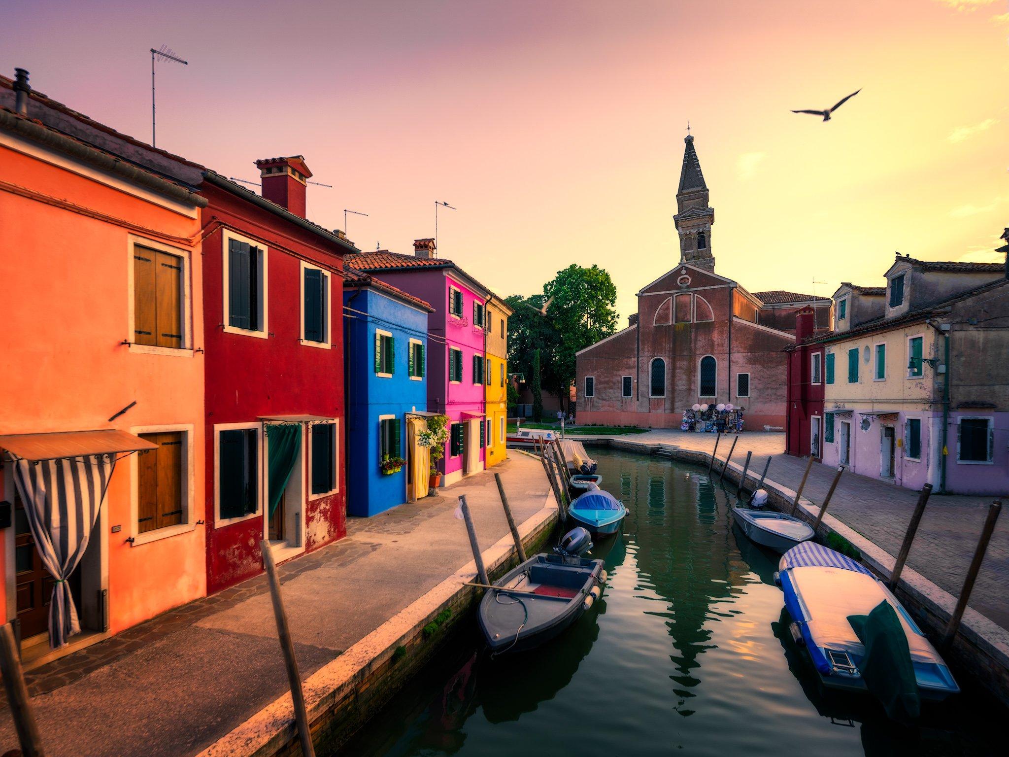 Burano i San Martino z Krzywą Wieżą | Wenecja, Włochy