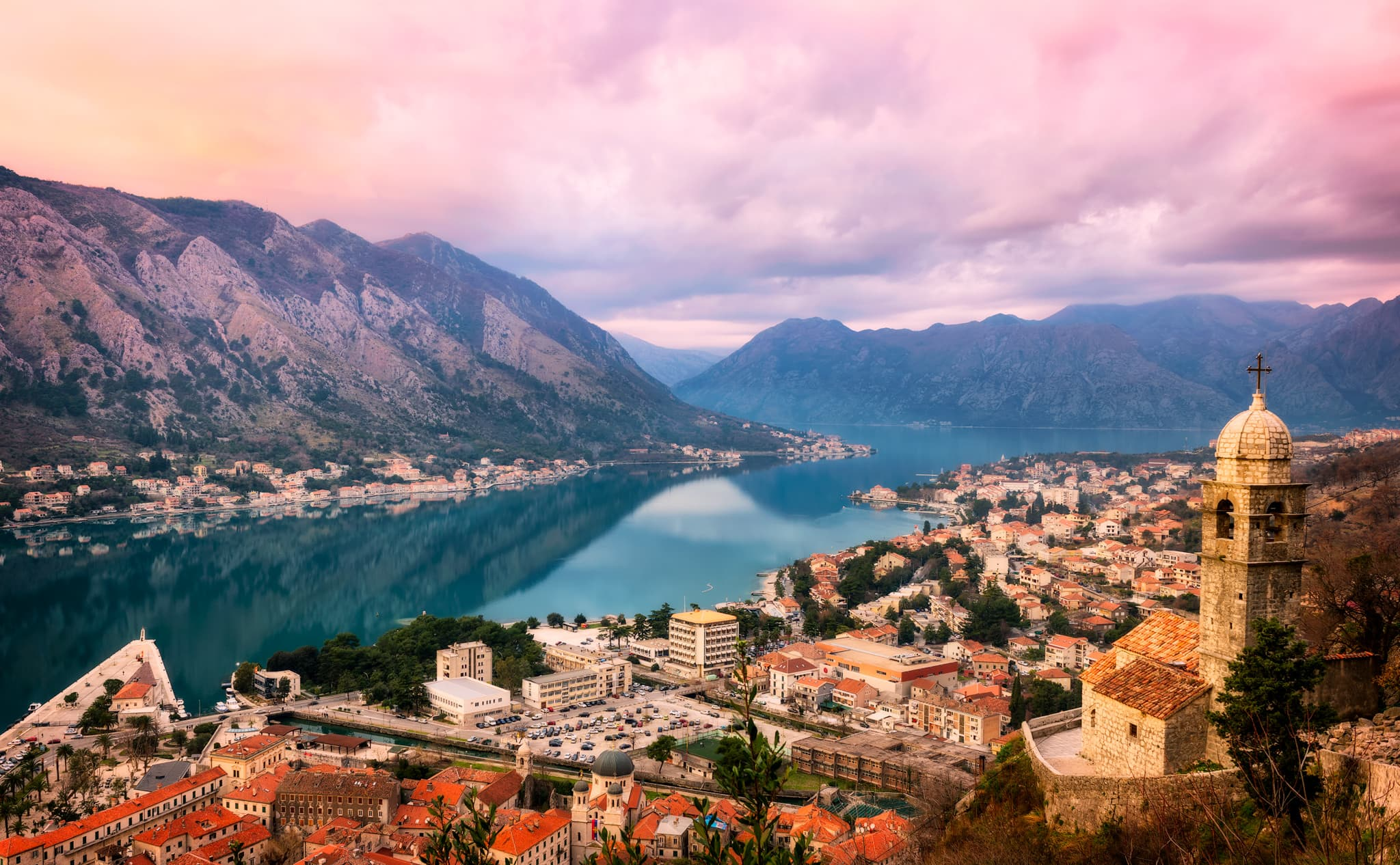 Zatoka Kotorska Sunset Panorama | Kotor, Czarnogóra