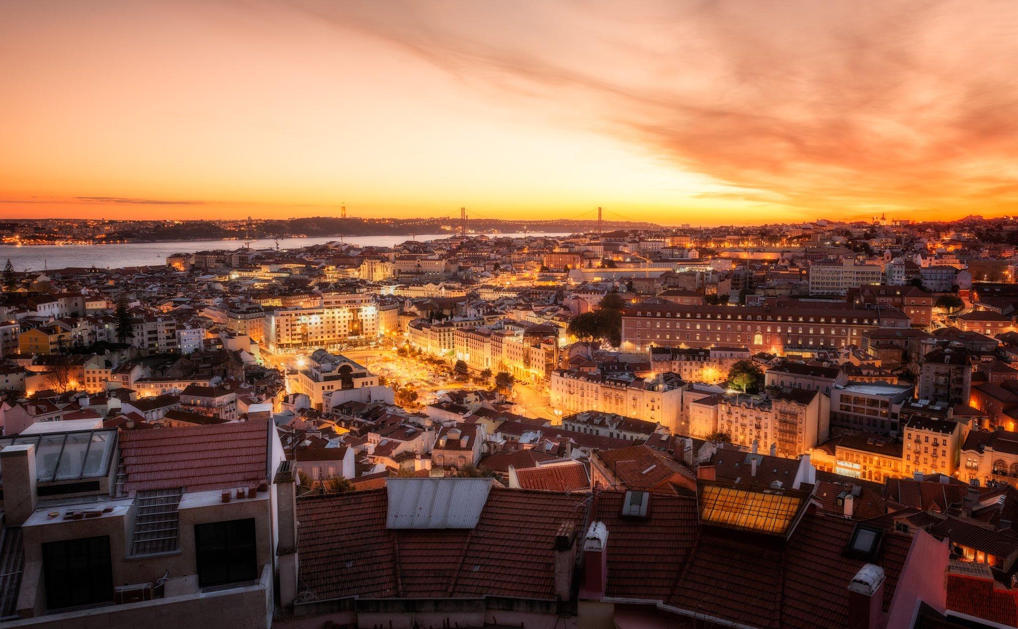 Widok zachodu słońca | Lizbona, Portugalia