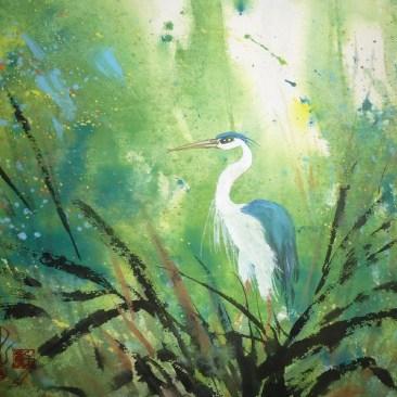 """Carol Waite """"Blue Heron Splash"""""""
