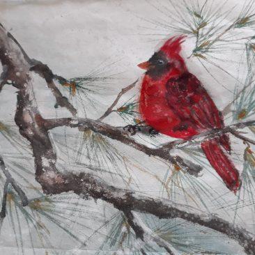 "Jean Seelig ""Cardinal on Pine Branch"""