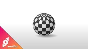 ワイヤーフレーム球体で市松柄のボール #036