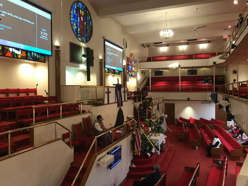 A view from the balcony of Union Baptist church.