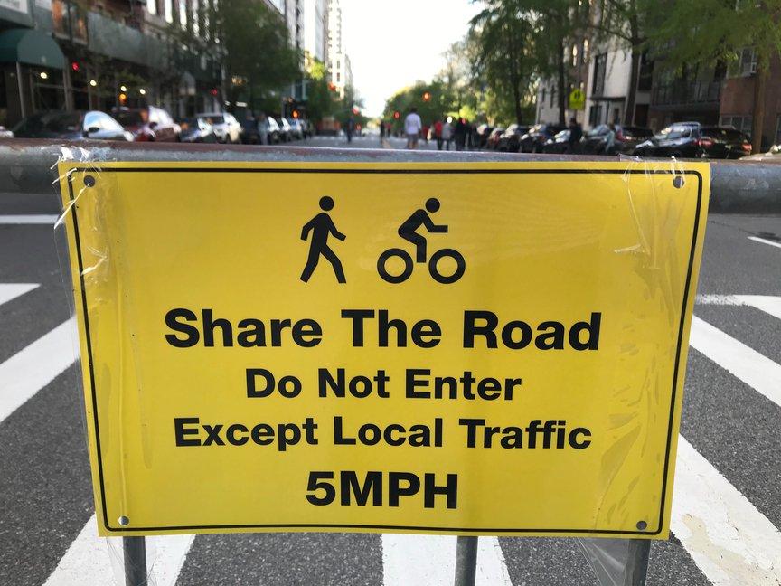 Open streets sign on York Avenue near Carl Schurz Park on the Upper East Side.