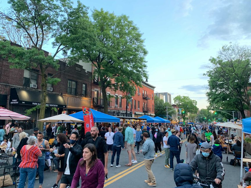 a packed Open Street in Park Slope