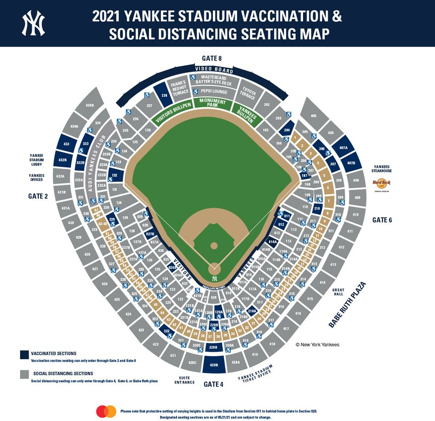 the yankee stadium seating chart for vaccinated and unvaccinated fans