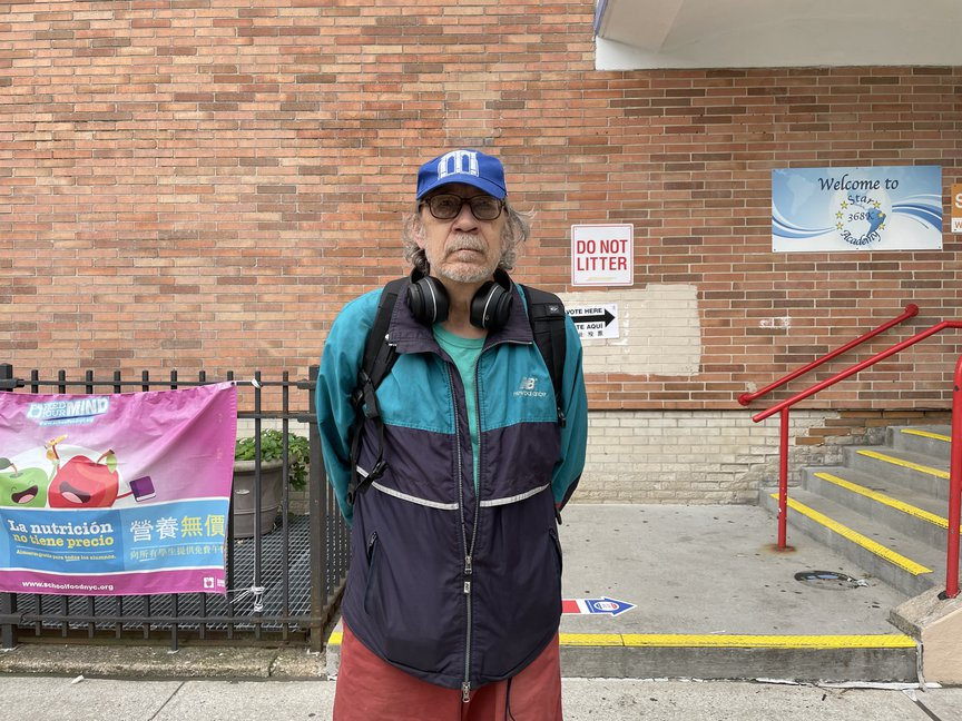 George Curran voted Saturday at an early polling site in Bed-Stuy.