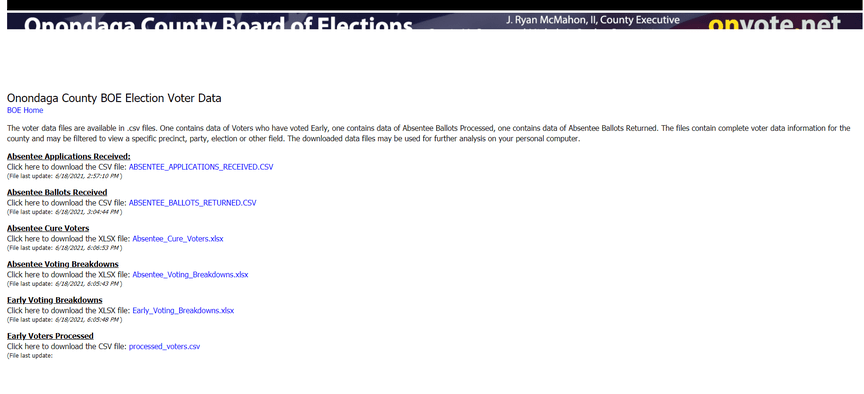 A screengrab of the Onondaga County Board of Elections website that allows users to obtain early voting information.