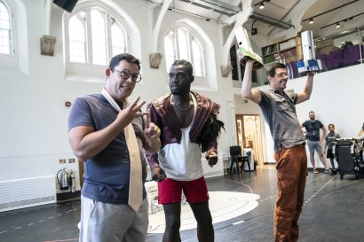 Nigel Richards, Emmanuel Kojo, and Gavin Lee in rehearsal for <i data-recalc-dims=