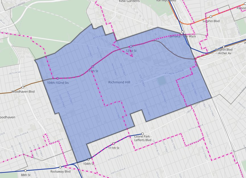 An overhead map of Richmond Hill, Queens, with the pink lines representing district lines for Assembly Districts.