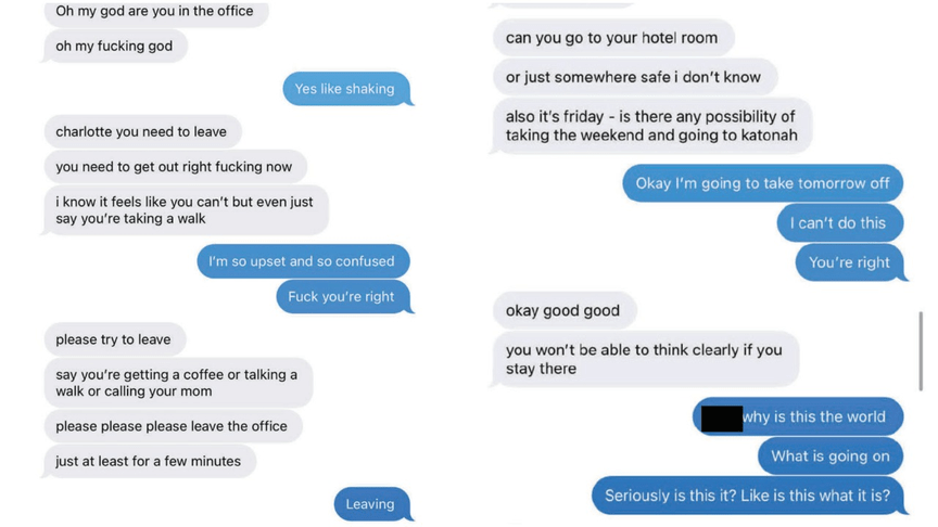 Text messages from a Cuomo accuser shared by the Attorney General's Office
