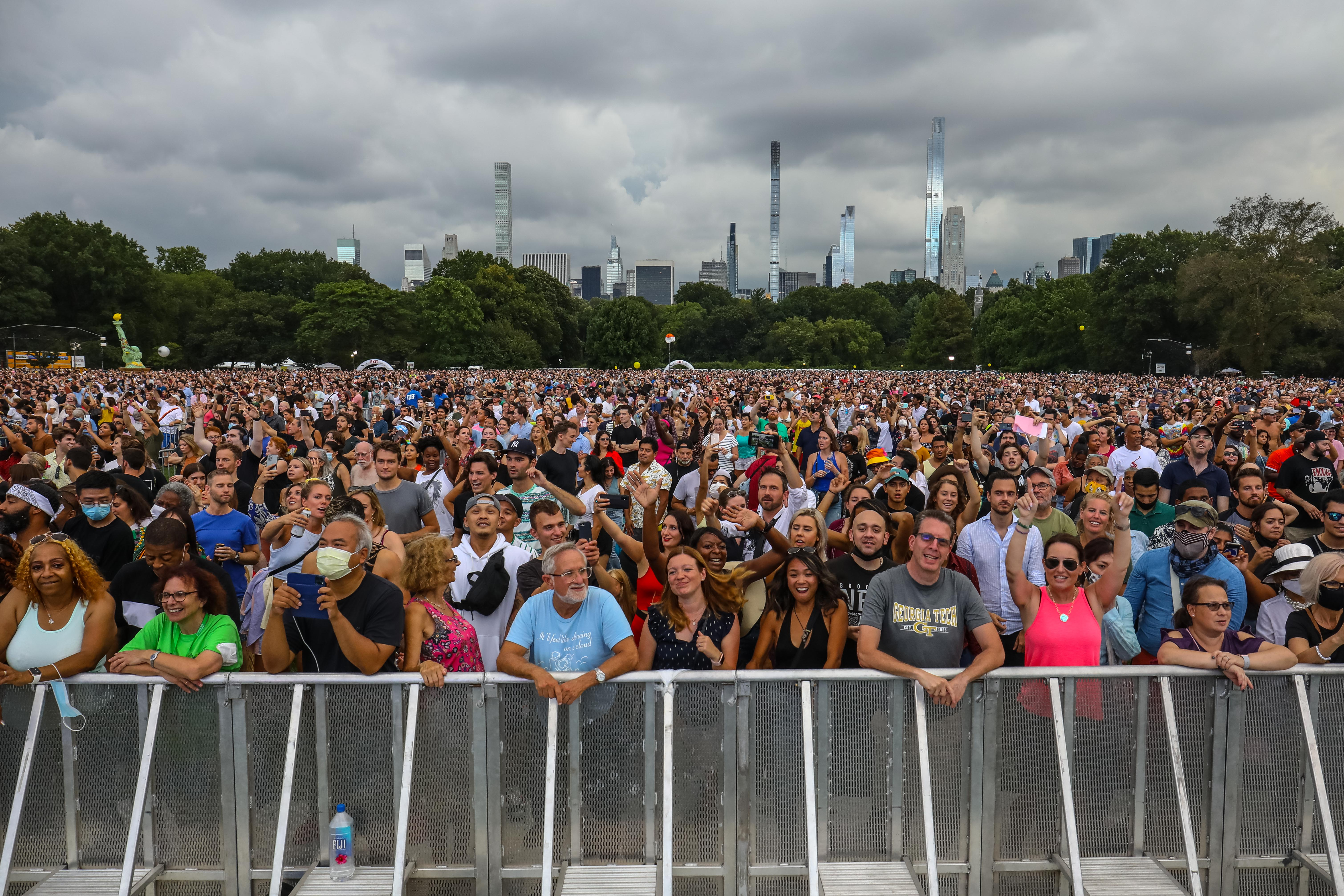 concert goers at the Homecoming concert in Central Park, before the storm