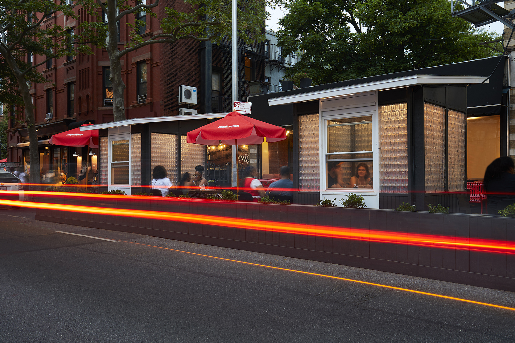 the outdoor dining structure at Peaches Kitchen and Bar