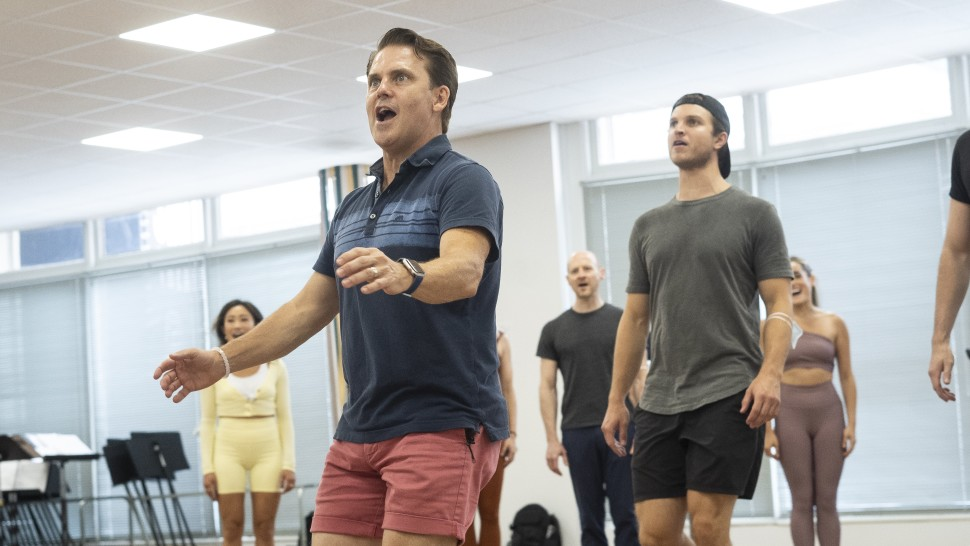 Robert Creighton and cast in rehearsal for <i data-recalc-dims=
