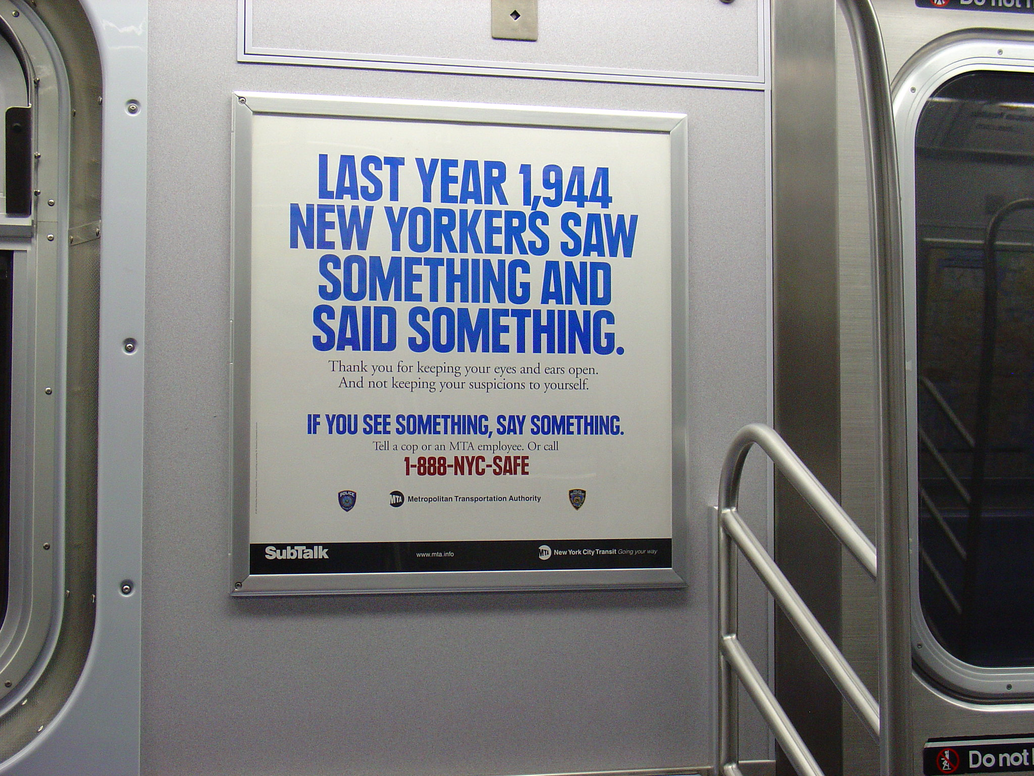 A See Something Say Something sign says that 1944 NYers Saw something and Said Something last year