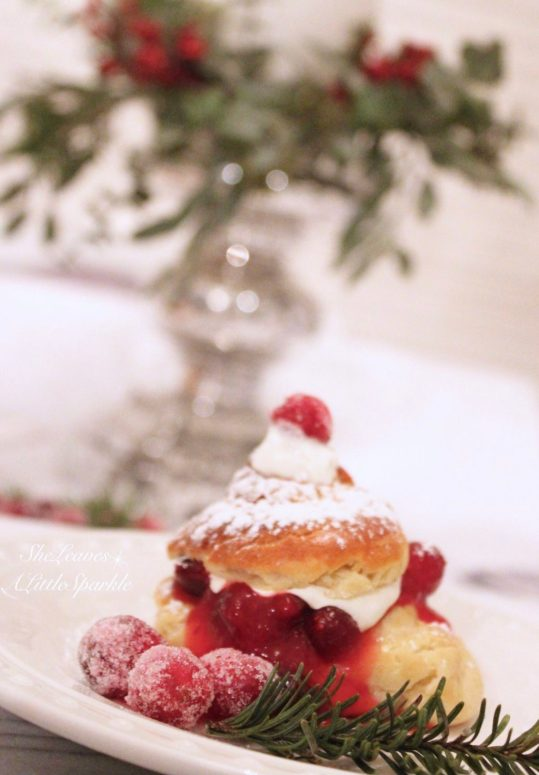 Christmas desserts creampuff recipe with cranberry orange sauce vanilla pastry cream