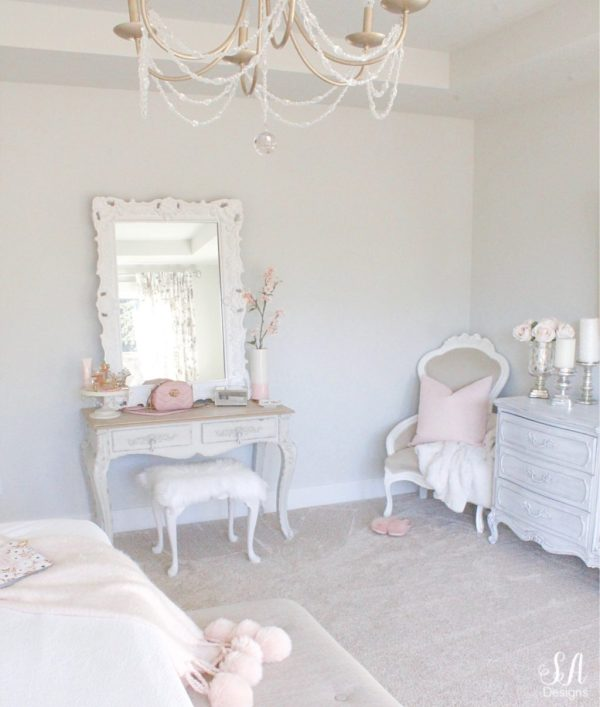 white interiors, vintage makeup vanity, shabby chic, vintage chair, french provincial dresser
