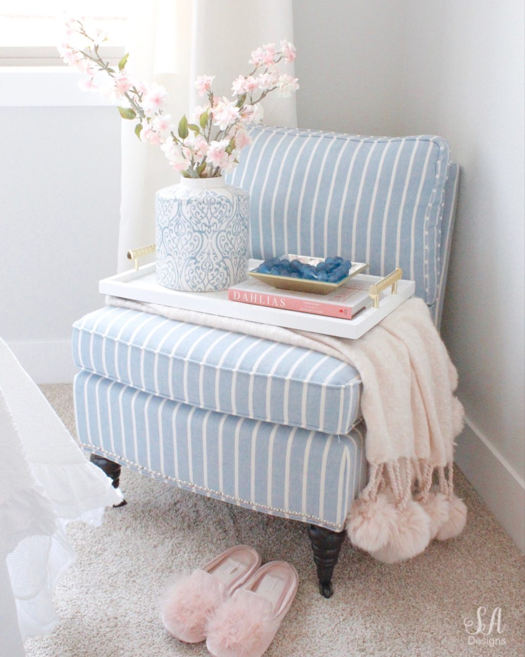 Blue And White Striped Chair Coastal Glam Guest Bedroom Blue White Striped Chair With Blush