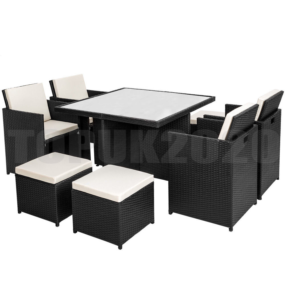 Cube Chairs Cube Rattan Garden Furniture Set Chairs Sofa Table Outdoor Patio 8 Seater