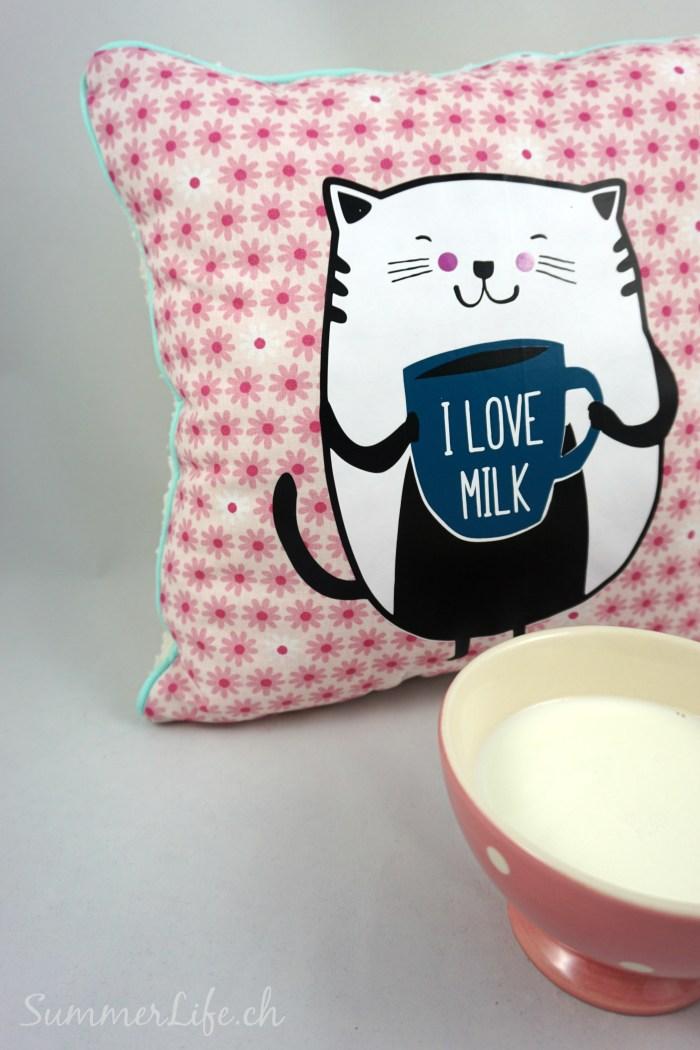 Mietze mit Milch