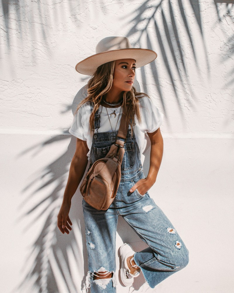 Summer of Diane X Free People Overalls and Sling bag