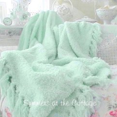 Pink Beach Chair Glider Rocking Cushions Uk Shabby Cottage Aqua Throw Blanket Chic Fringe Cozy For White Wicker Overstuffed