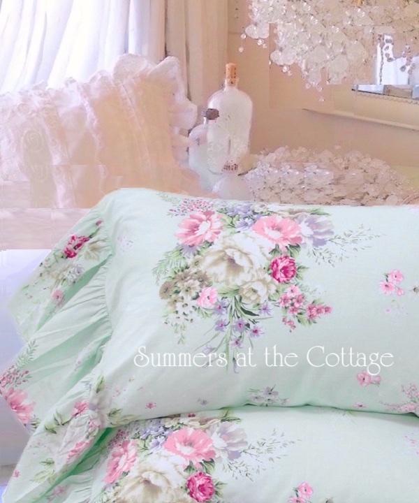 aqua mint pink roses ruffle pillowcases shabby cottage chic