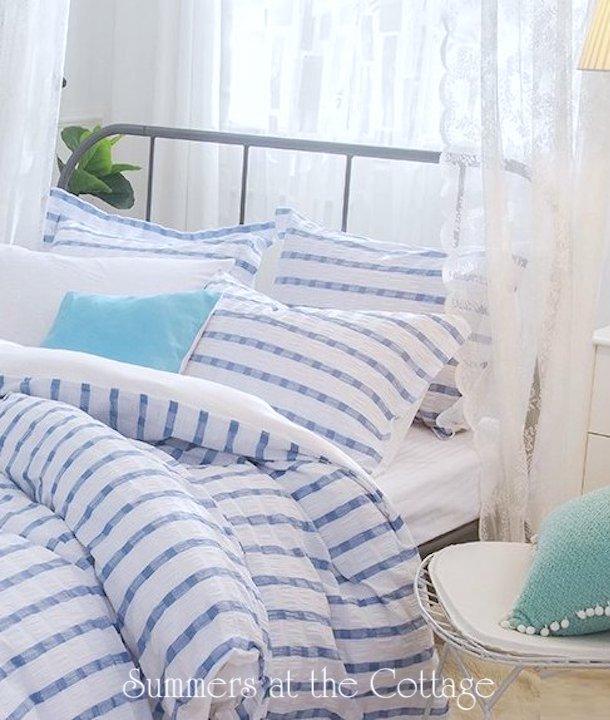 coastal beach house blue white stripe duvet hamptons chic