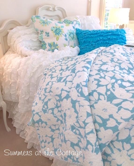 summer house beach cottage turquoise blue ruffled pillow sham