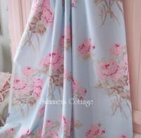 SHABBY COTTAGE BLUE PINK ROSES CHIC DRAPES CURTAIN FABRIC ...