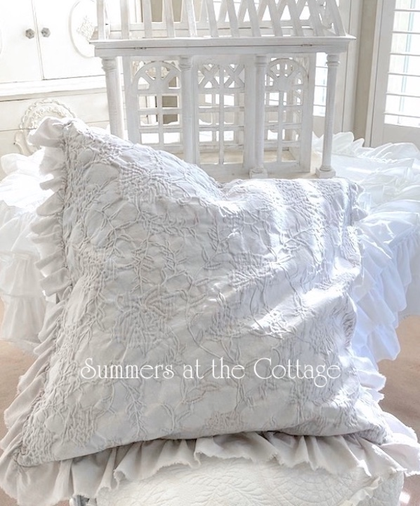 summers cottage collection euro pillow shams snow white or gray matelasse ruffles set of two