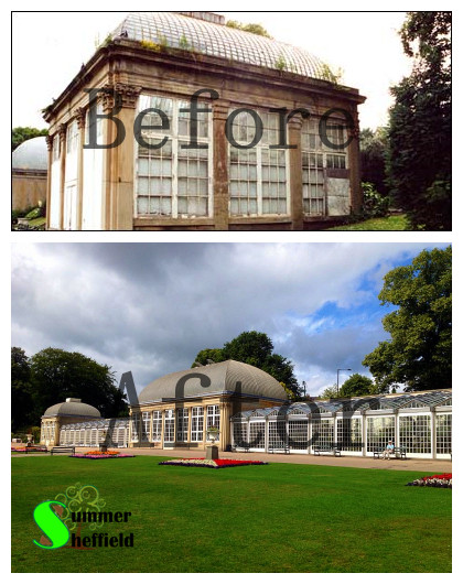 The 'before and after' of the restoration of Pavillions