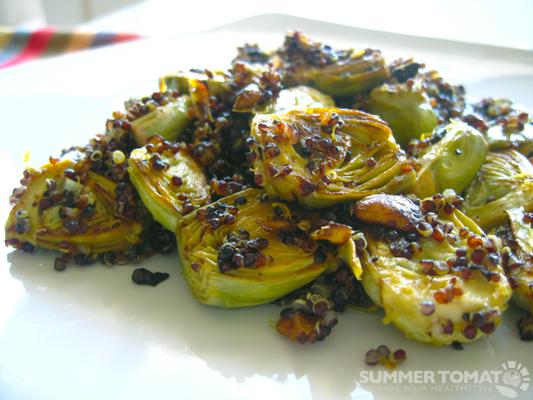Pan Roasted Artichokes With Pistachios And Black Quinoa Recipe
