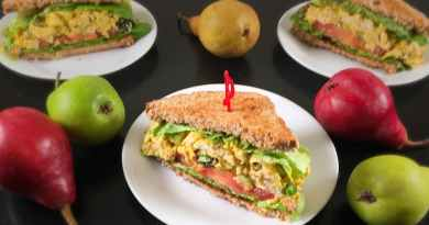 Turkey Curry Salad Sandwiches surrounded by pears