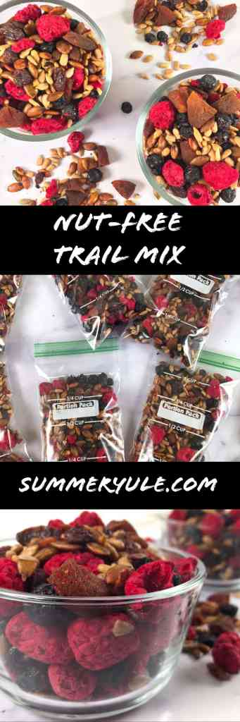 Nut free trail mix in bowls and baggies