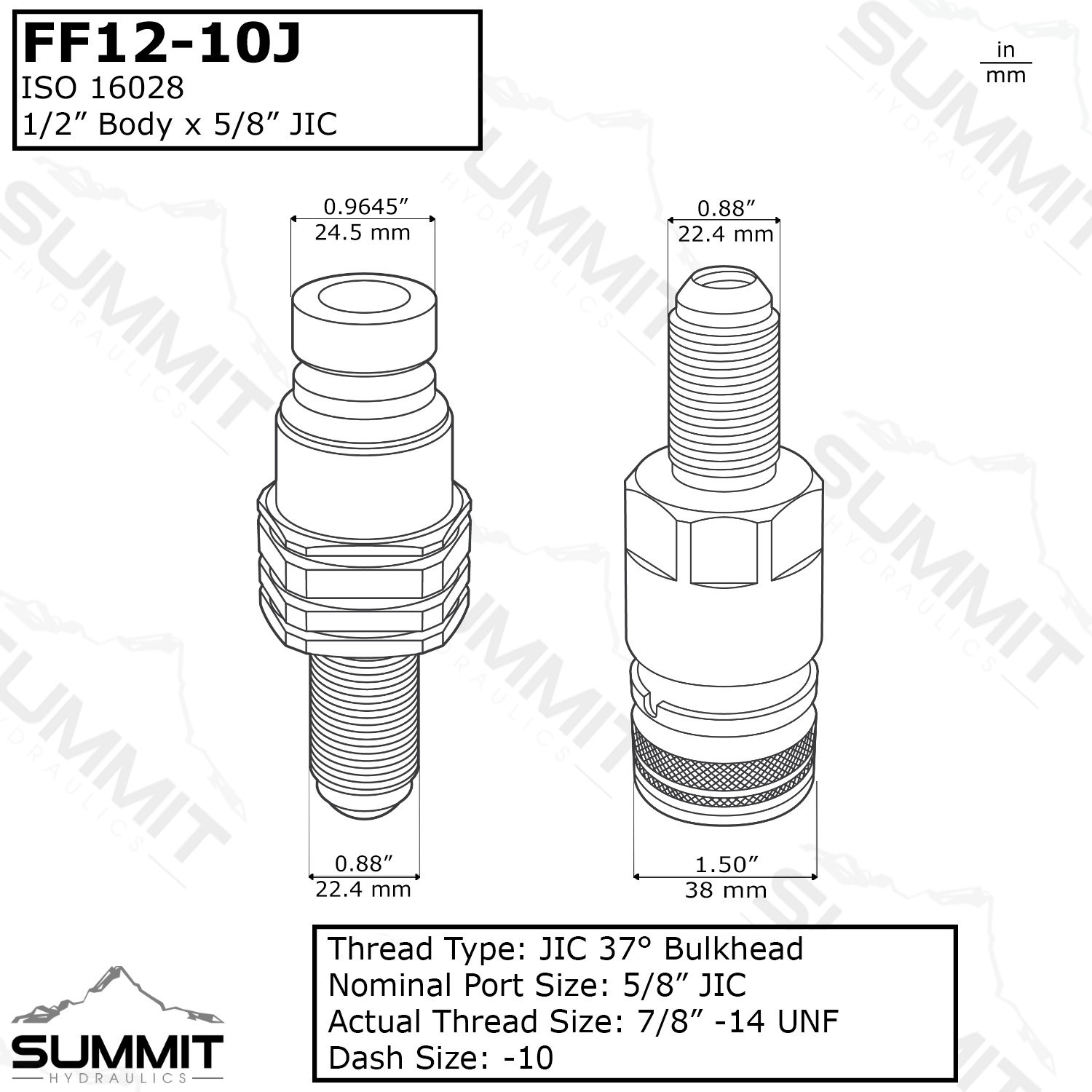 Flat Face Hydraulic Quick Connect Coupler Set 10 Jic