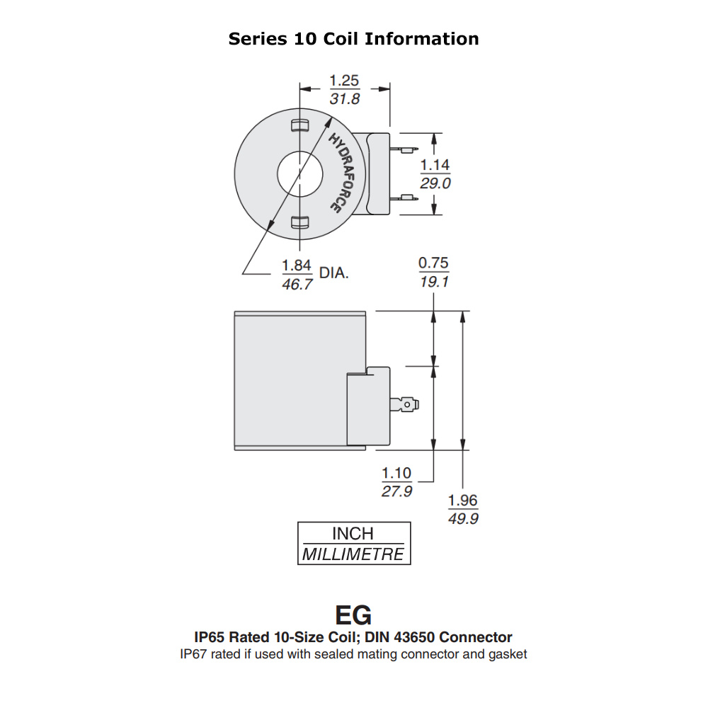 hight resolution of hydraforce 4305882 solenoid valve coil 3 prong din connector 12v dc 10 series