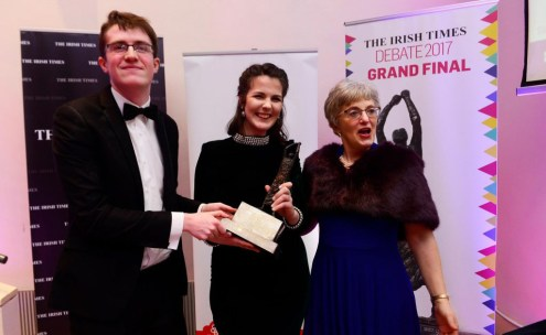 Pictured from left to right: Dara Keenan and Aisling Tully receiving the Irish Times Final National Championship award. Photo courtesy of the Irish Times.