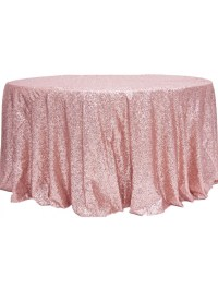 "Dusty Rose Sequins 120"" Linen Rental for Weddings"
