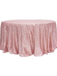 "Dusty Rose Sequins 120"" Linen Rental for Weddings"