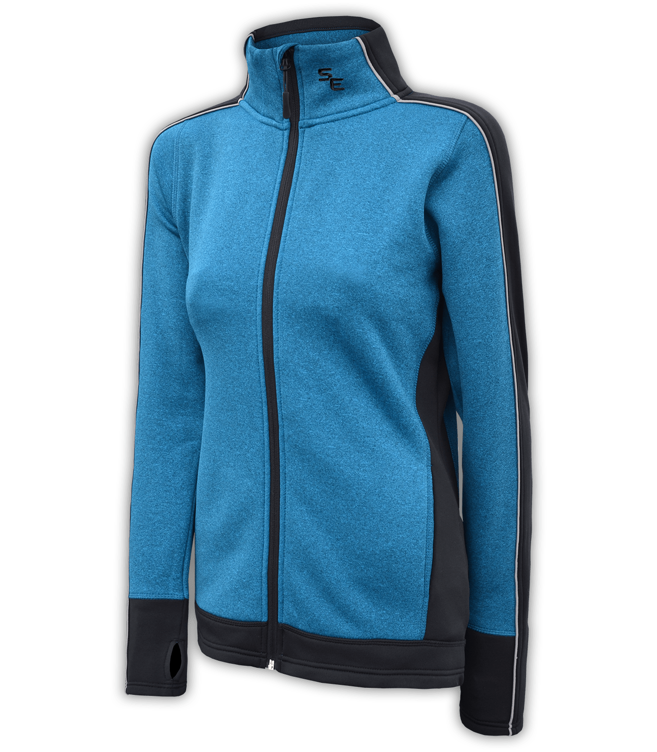 women's fitted jacket, power stretch fleece, blue