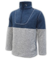 mens-north-shore-fleece-half-zip-denim-blue-gray-salt-and-pepper- summit-edge-jacket-pullover
