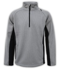summit-edge-mens-fleece-half-zip-quarter-zip-gray-black-pullover-ski-jacket-stand-up collar-zip-pockets outerwear