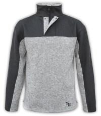 summit-edge-mens-fleece-half-zip-quarter-zip-gray-black-pullover-ski-jacket-stand-up collar snap placket outerwear north shore fleece
