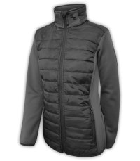 summit-edge-womens-outerwear-brand-jacket-black-nylon-quilted-down-zipper-pockets-horizontal-stand-up-collar-power-stretch-sleeves-gray-black-outdoor-clothing