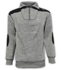 summit edge outerwear brand pullover, north shore fleece, salt & pepper, gray 1/4 zipper, black patches, collar
