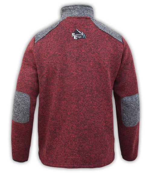 summit edge brand, gray elbow patches, mens sweater red, shoulders logo