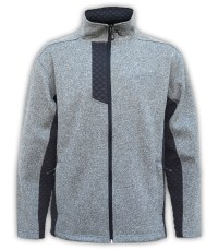 mens coarse weave 3d fleece jacket gray with black collar summit edge brand