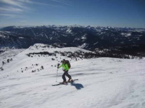 skinning up the backcountry to Pyramid Peak
